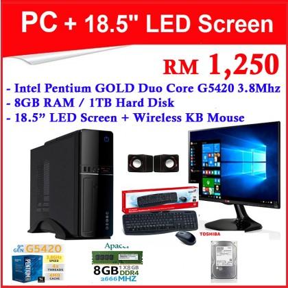 "Intel Pentium GOLD Duo Core G5420 3.8Mhz Complete Desktop PC Computer set + 18.5"" LED Screen (*New Set !!!) 8GB RAM / 1TB HDD / Wireless Keyboard"