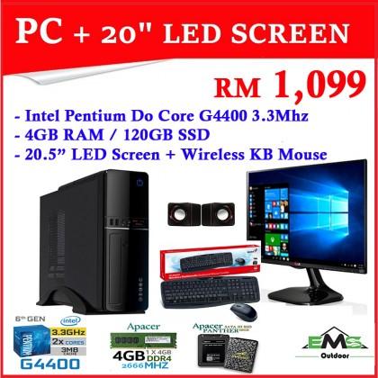 "Intel Pentium Duo Core G4400 3.3Mhz Complete Desktop PC Computer set + 20.5"" LED Screen (*New Set !!!) 4GB RAM / 120GB SSD / Wireless Keyboard"