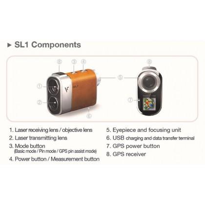 Voice Caddie SL1 GPS Laser Rangefinder (Silver + Leather) Preloaded 40,000 Golf Courses